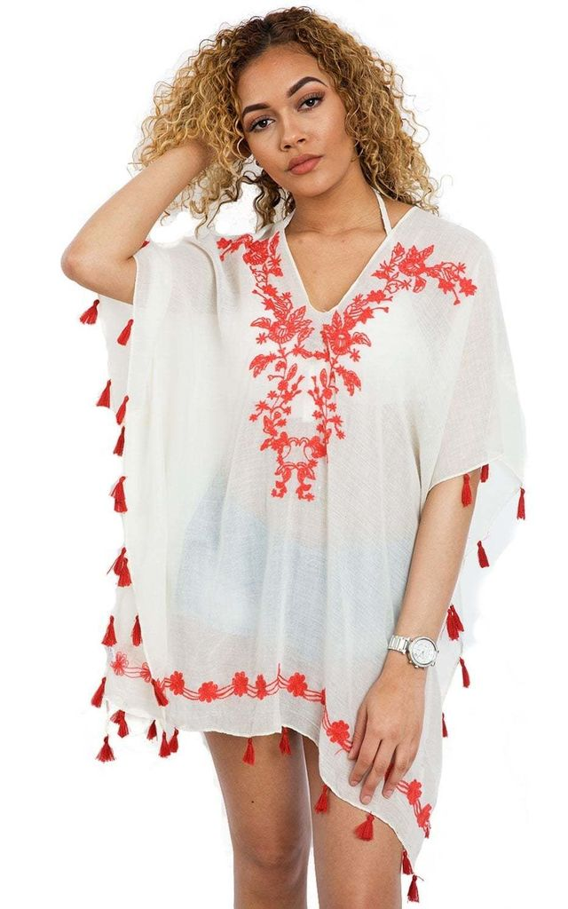 Red Floral Embroidered Kaftan Top with Tassel Detail (Variant) by Urban Mist