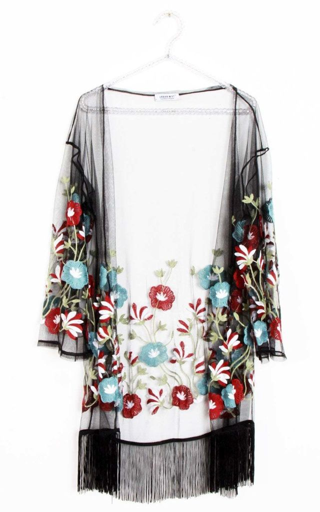 Black Sheer Long Sleeve Kimono with Red Florals by Urban Mist