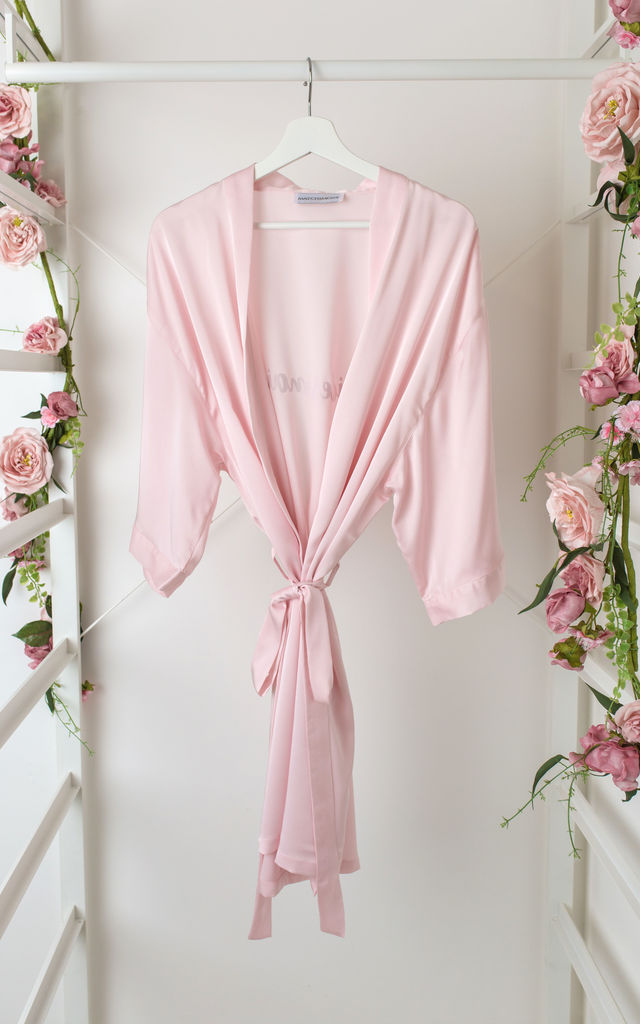 Bridesmaid / Bride / Hen Dressing Gown - Pale Pink by Matchimony