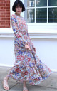 Long Sleeve Maxi Dress with Waist Tie in Beige Floral Print by CY Boutique