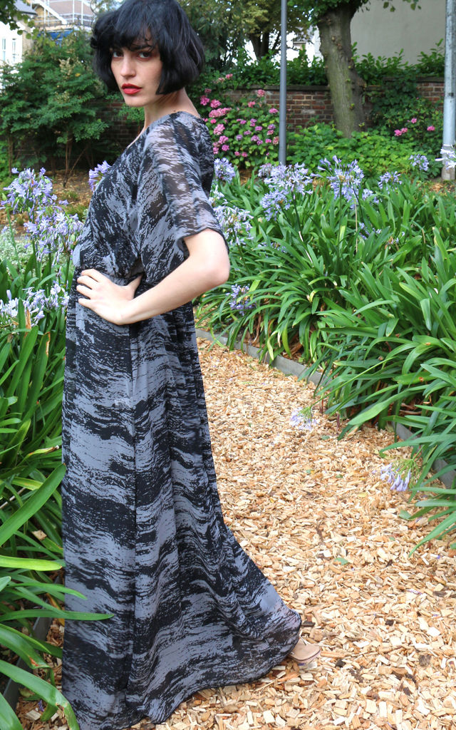 Short Sleeve Wrap Maxi Dress in Black and Grey Abstract Stripe Print by CY Boutique