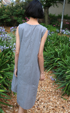 Sleeveless Shift Midi Dress with Knot Design in Grey Stripe by CY Boutique
