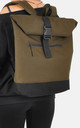 Khaki Roll Top Laptop Backpack by The Left Bank