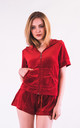 Top and Shorts Velour Tracksuit Set in Red by CY Boutique