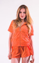 Top and Shorts Velour Tracksuit Set in Orange by CY Boutique