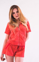 Top and Short Velour Tracksuit Set in Coral by CY Boutique