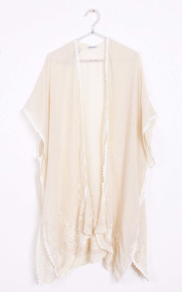 Cream Flower Embroidered Longline Lace Trim Open Kimono Jacket (Variant) by Urban Mist