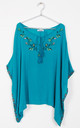 turquoise Floral Embroidery Trim Kaftan Top with Tassel Tie by Urban Mist