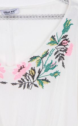 White Floral Embroidery Belt Tassel Trim Kaftan Top by Urban Mist