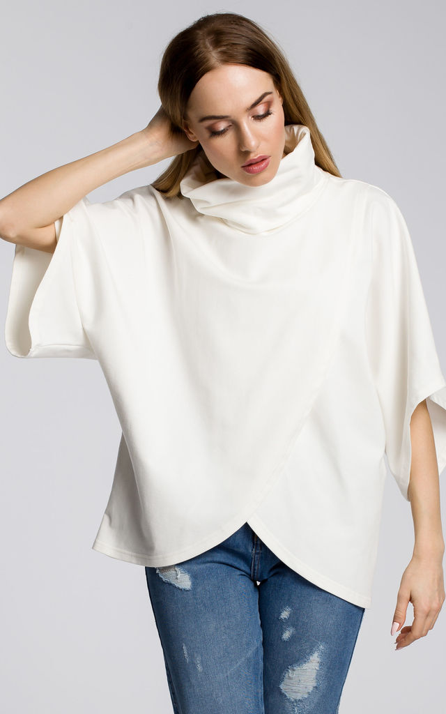 Oversized roll neck Sweater in white by MOE