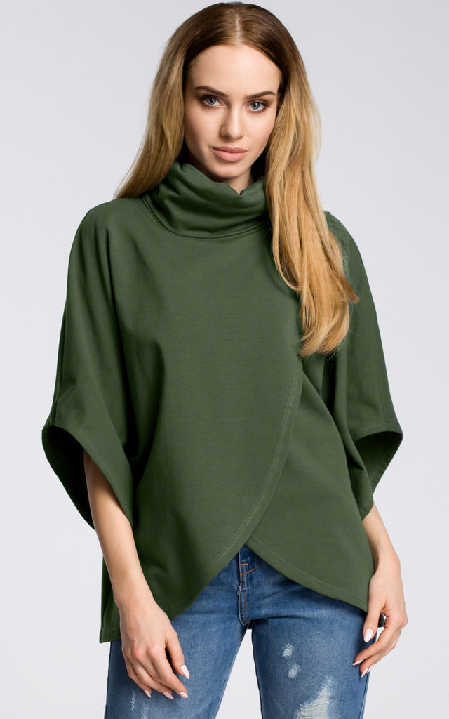 Green Asymmetric Turtleneck Sweater by MOE