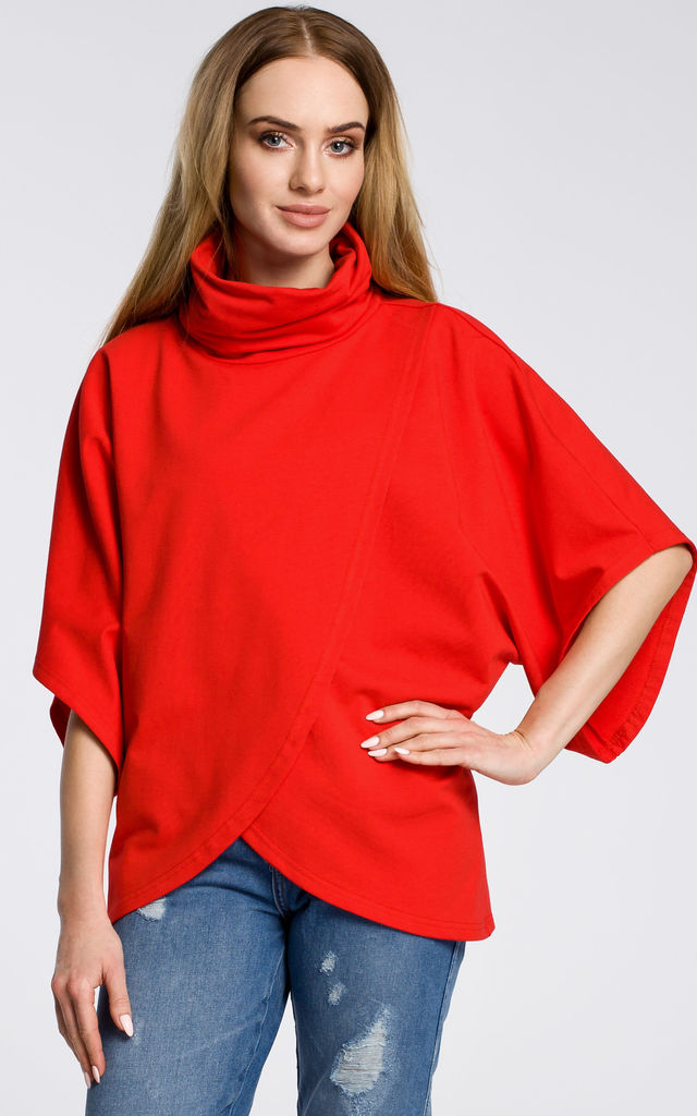 Red Asymmetric Turtleneck Sweater by MOE