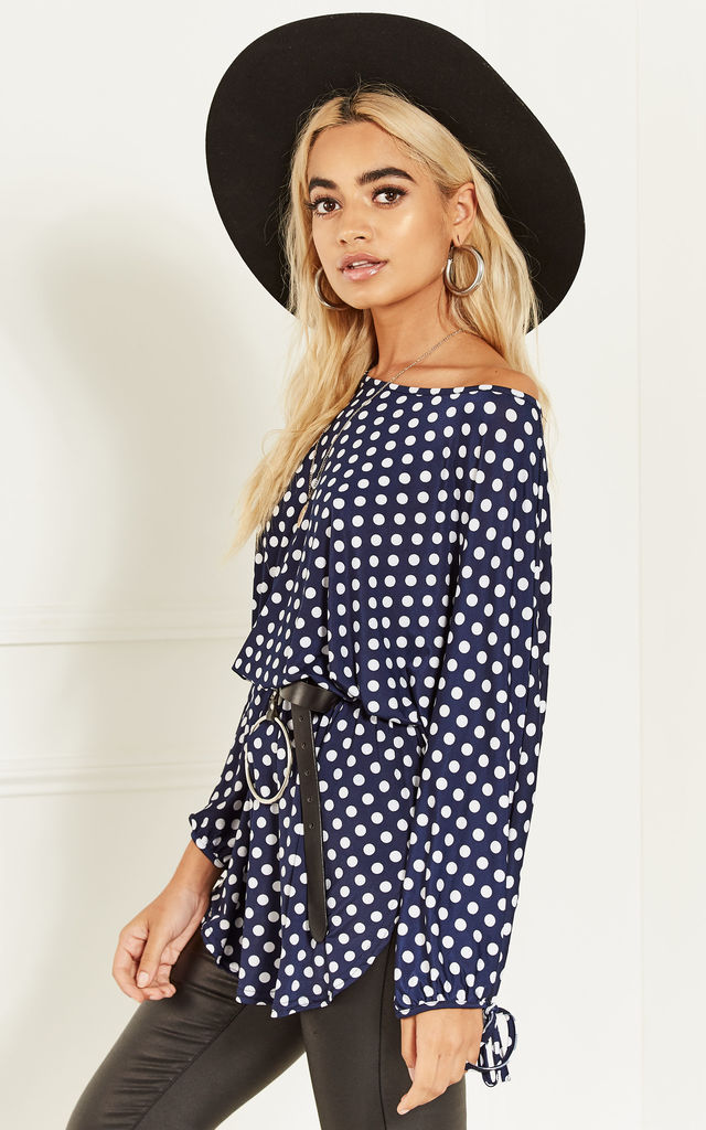 Navy Polka Dot Tunic Top by Bella and Blue
