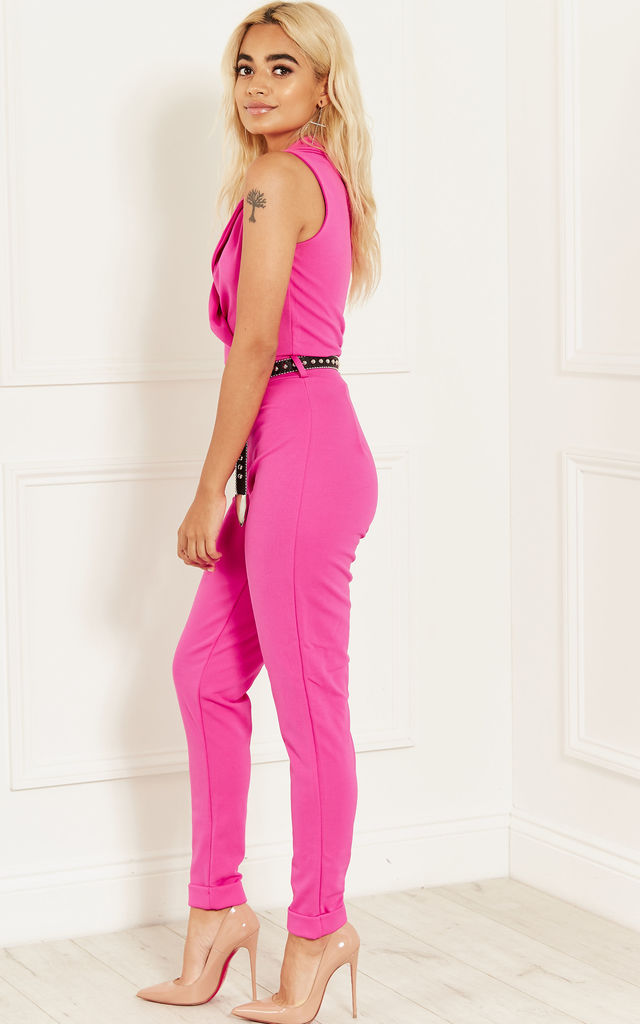 PINK LAPEL COLLAR JUMPSUIT by Lilah Rose