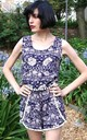 Sleeveless Top And Short Co Ord In Blue and White Floral Print by CY Boutique