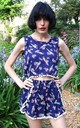 Sleeveless Top and Short Co-ord in Blue Floral Print by CY Boutique