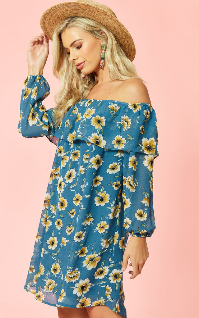Blue Yellow Floral Print Off Shoulder Dress by Glamorous