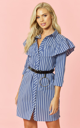 Blue White Stripe Long Sleeve Shirt Dress With Shoulder Ruffle by Glamorous
