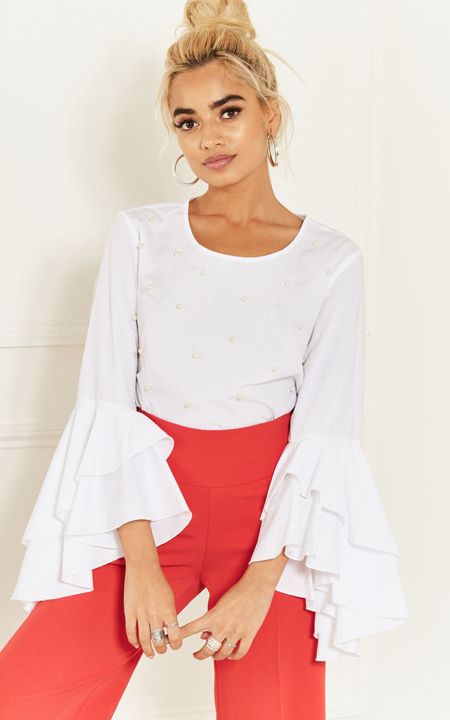 White Pearl Detail Bell Sleeve Top by Bella and Blue