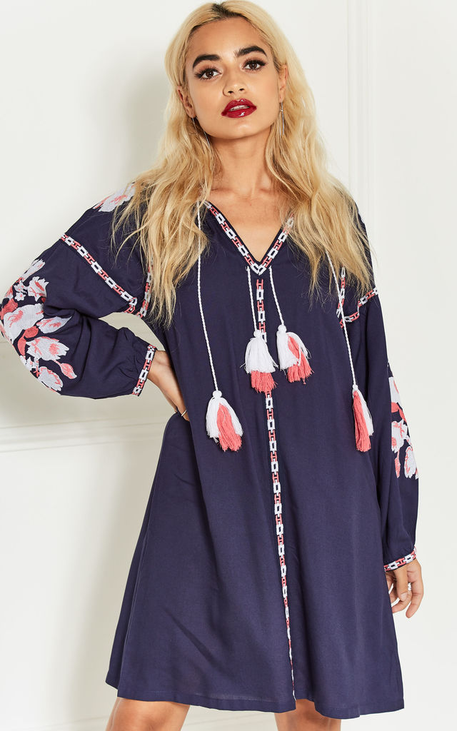 Navy Shift Dress with White and Pink Embroidery Detail by Bella and Blue