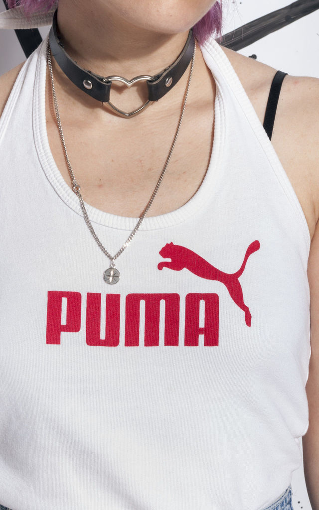 90s vintage Puma crop top in white by Pop Sick Vintage