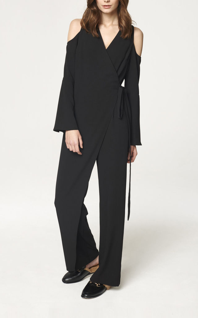 V Neck Cold Shoulder Jumpsuit with Asymmetric Wrap Front in Black by Paisie
