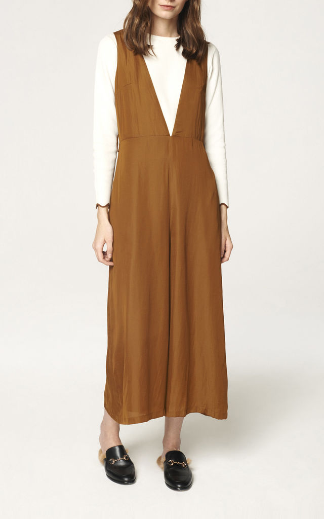V Neck Wide Cropped Leg Jumpsuit in Brown (with self belt) by Paisie