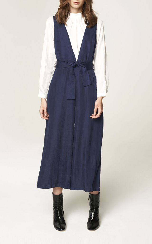 V Neck Wide Cropped Leg Jumpsuit in Navy (with self belt) by Paisie