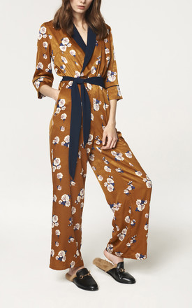 Wrap Front Floral Jumpsuit with Contrast Lapel and Piping (with self belt) by Paisie