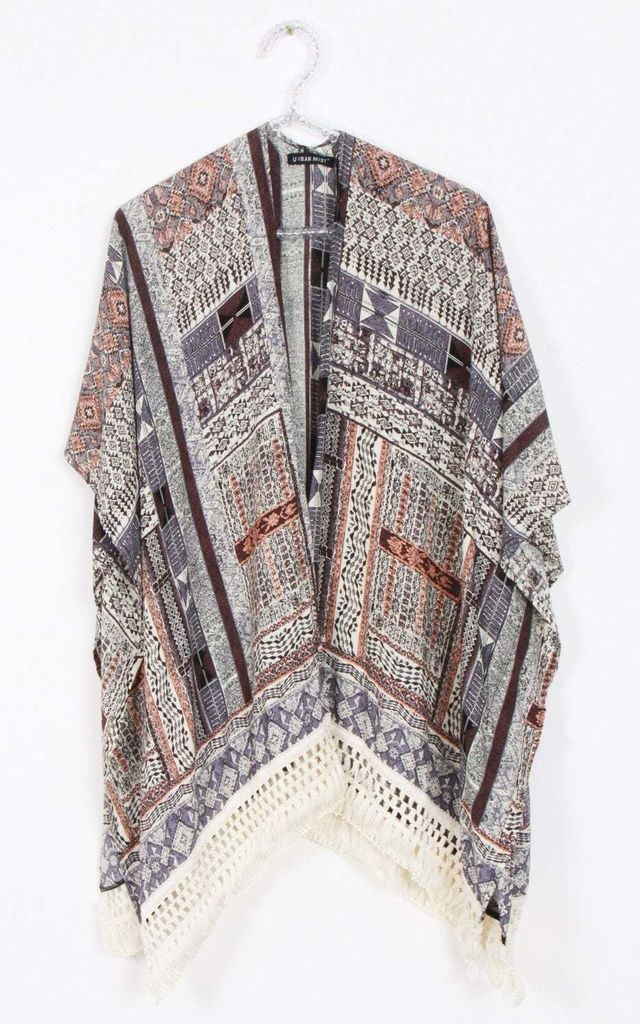 Purple Geometric Paisley Print Tassel Trim Kimono Jacket by Urban Mist