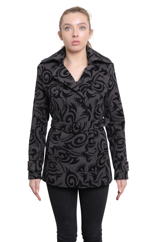 Grey Tribal Print Belted Pea Coat by De La Creme Fashions
