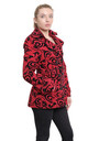 Red Tribal Print Belted Pea Coat by De La Creme Fashions