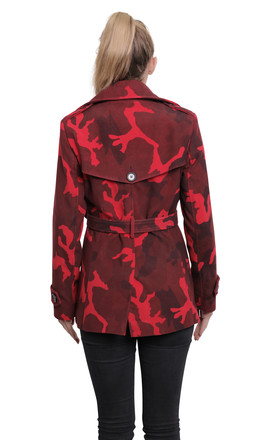 Red Camo Print Belted Pea Coat by De La Creme Fashions