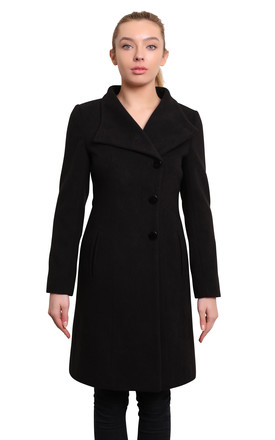 Veronica Black Funnel Neck Button Down Coat by De La Creme Fashions Product photo