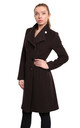 Veronica Brown Funnel Neck Button Down Coat by De La Creme Fashions