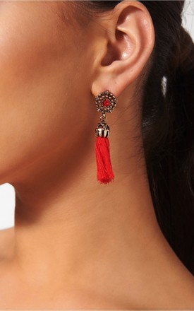 Koko Red Jewel Tassel Earrings by The Fashion Bible Product photo