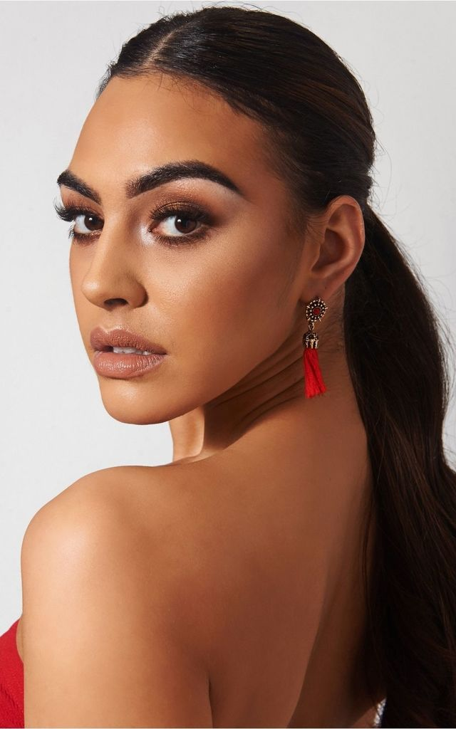 Koko Red Jewel Tassel Earrings by The Fashion Bible
