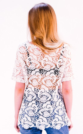 Floral Pattern Crochet T-shirt Top by CY Boutique