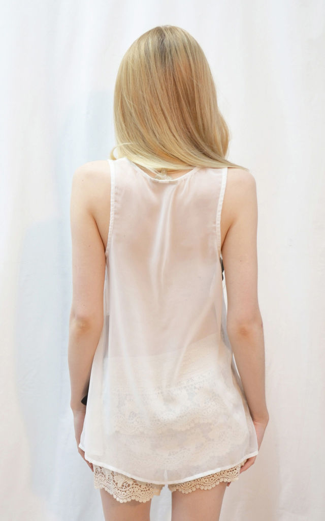 Velvet Stripe embellished Chiffon Vest Top by CY Boutique