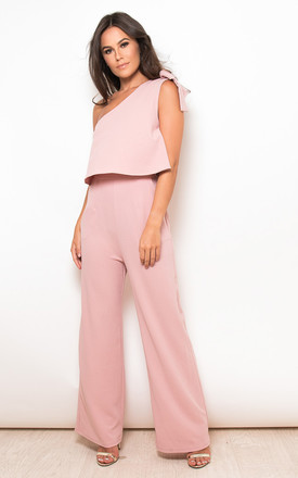 Frankie One Shoulder Bow Sleeve Jumpsuit Mauve by Girl In Mind