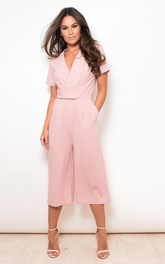 90ad83097363 Megan Short Sleeve Culotte Jumpsuit Mauve by Girl In Mind