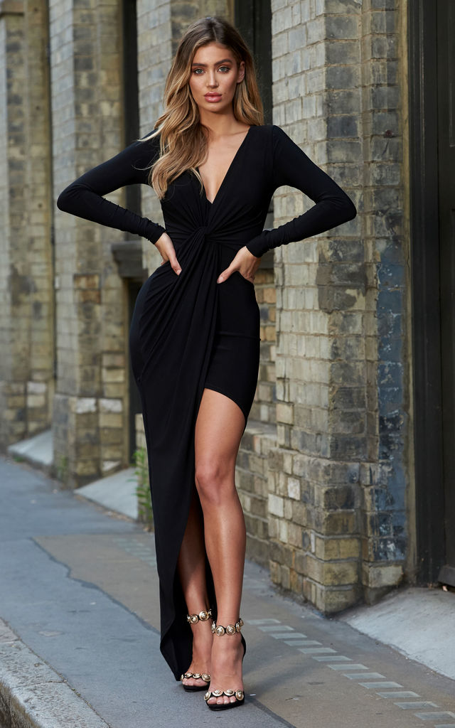 Black Asymmetric Knot Front Maxi Dress by Club L London