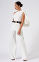 One Shouldered Cape Sleeve Jumpsuit in White by Club L London