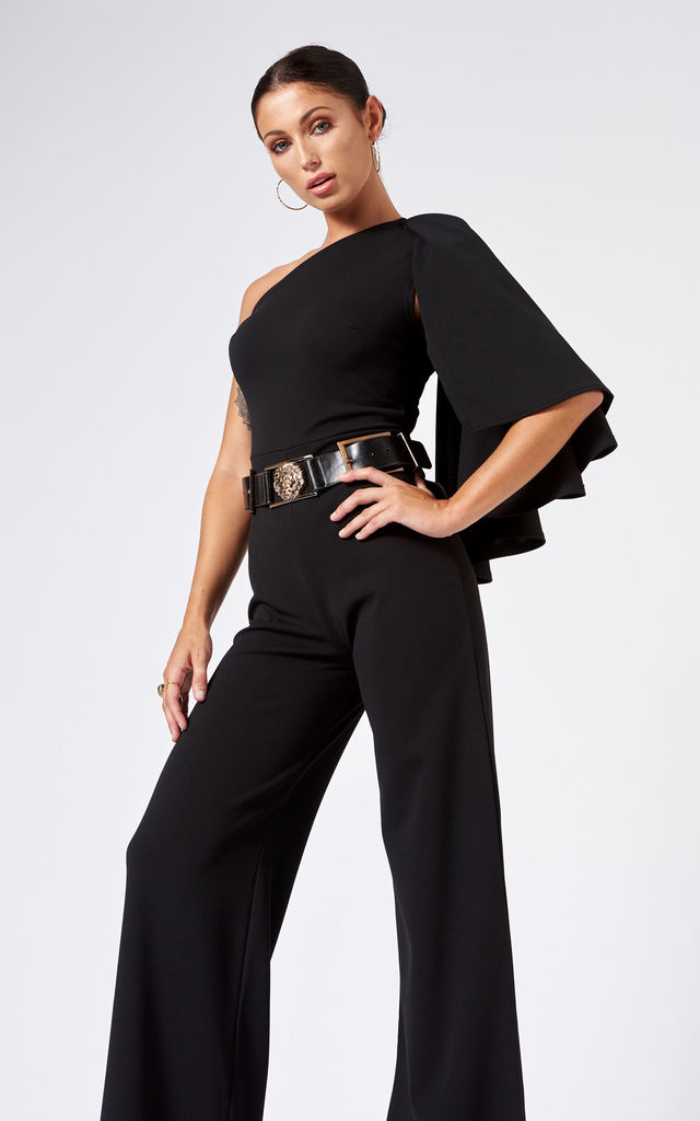 One Shouldered Cape Sleeve Jumpsuit In Black Club L London Silkfred