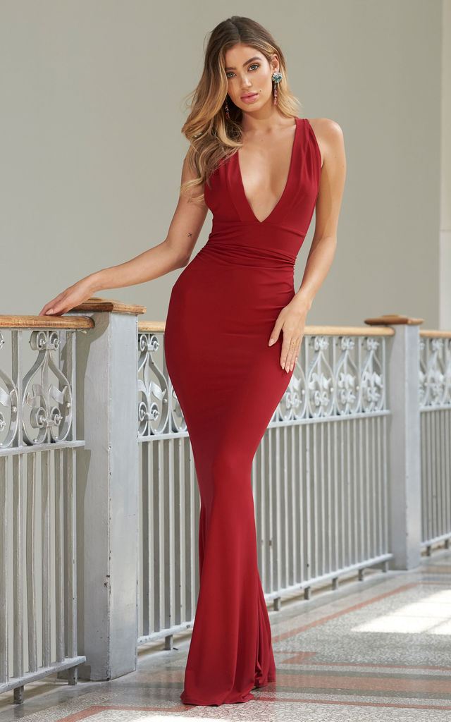 c7d7061a58f9 Red Strappy Cross Back Fishtail Maxi Dress | Club L London | SilkFred