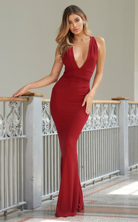 13f92c93ff5 Red Strappy Cross Back Fishtail Maxi Dress