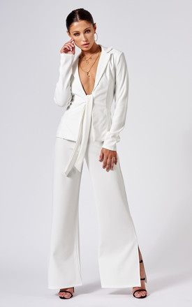 White Tie Front Plunge Tailored Blazer by Club L London