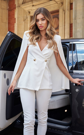 Double Breasted Cape Co-ord Blazer in White by Club L London