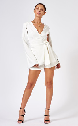 Cape Sleeve Blazer Co-Ord in White by Club L London
