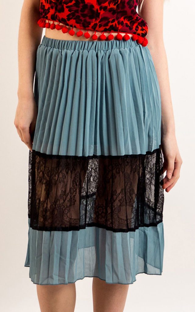 Pleated Chiffon Midi Skirt with Lace Detail in Green by CY Boutique